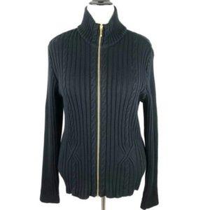 Chaps Black Cotton Cable Gold Zip Cardigan 16
